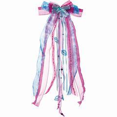 Schultütenschleife pink/h.blau/Perl