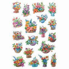 Sticker Blumen in Körbchen