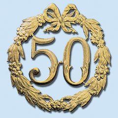 Zahl 50 gold 24 cm