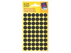 Etikett 12mm Farbpunkt schwarz