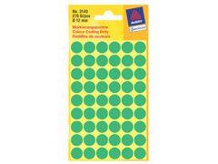 Etikett 12mm Farbpunkt grün