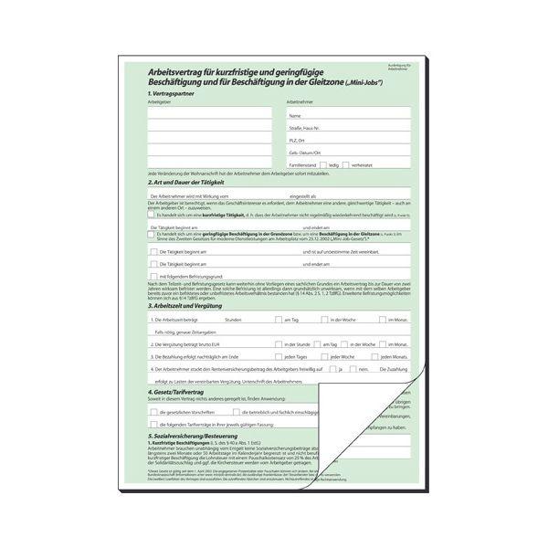 Arbeitsvertrag Teilzeit A4 2 Fach Av426 Bei Schreibwaren Bürobedarfde